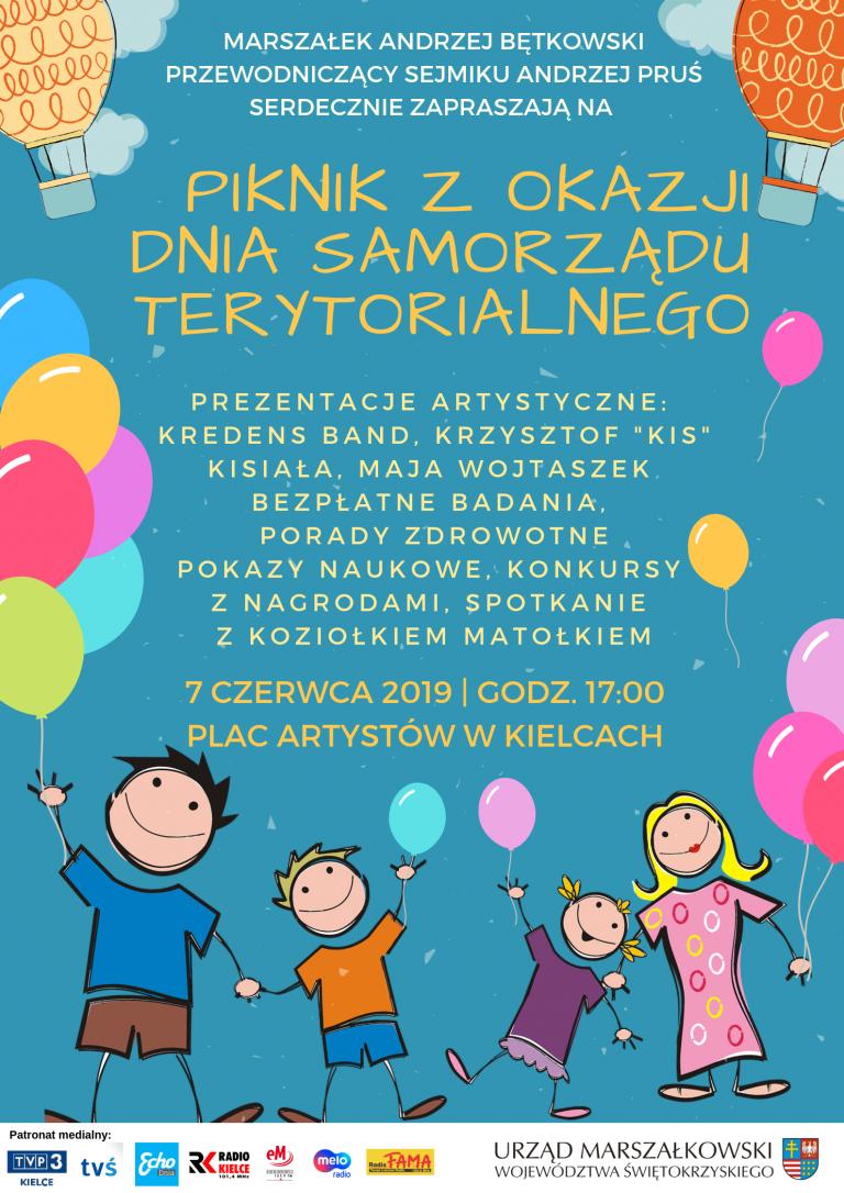Piknik Rodzinny z okazji Dnia Samorządu Terytorialnego. Zapraszamy 7 czerwca na Plac Artystów w Kielcach