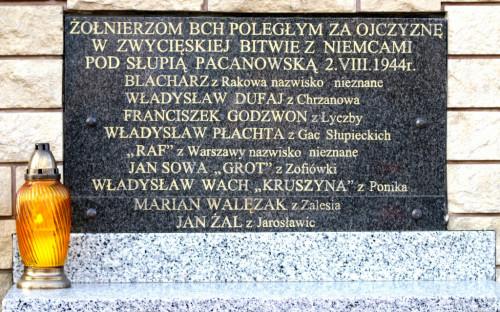 Tablica w Słupi Pacanowskiej upamiętniająca poległych partyzantów.