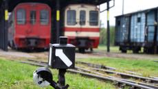 Widok na zwrotnicę oraz wagony osobowe na stacji w Jędrzejowie