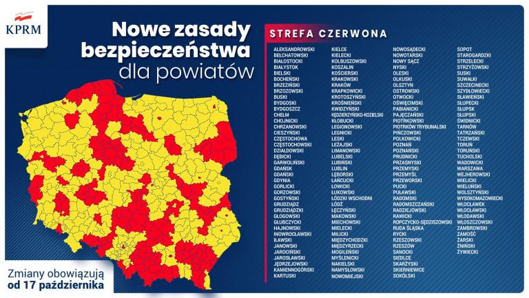 Mapa Polski z podziałem na Czerwone I żółte strefy