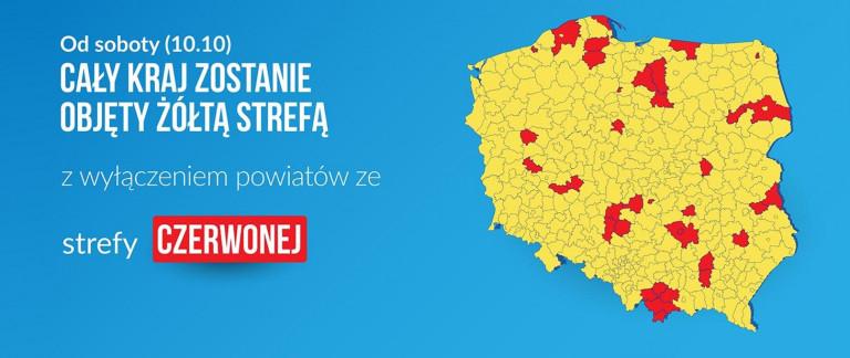 Mapa Polski Z Obszarami Objętymi Strefą żółtą I Czerwoną Nowe Zasady Bezpieczeństwa W Walce Z Koronawirusem