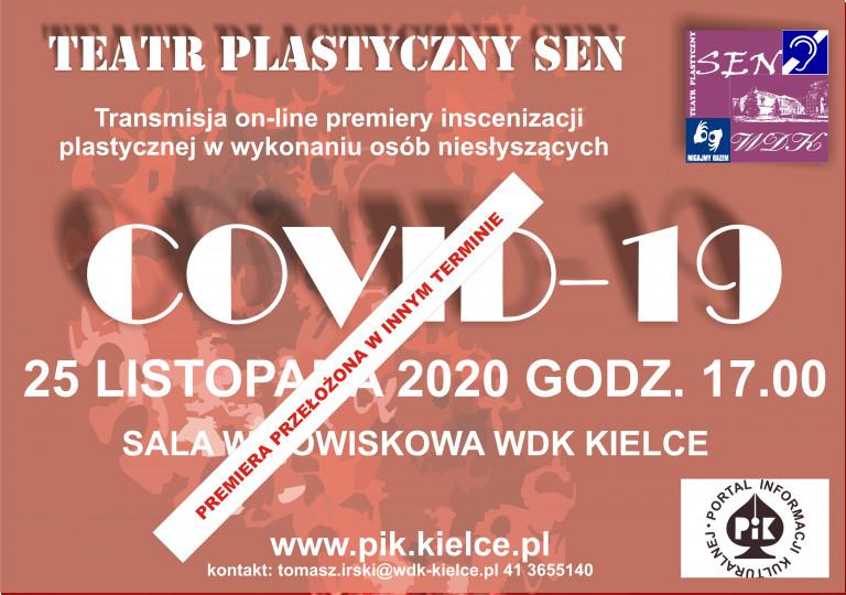 Plakat: odwołana premiera Teatru Plastycznego SEN