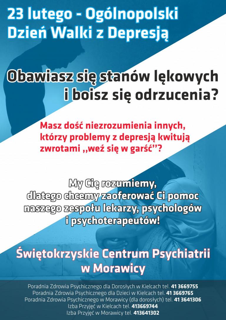 Plakat Promujący Akcję Świętokrzyskiego Centrum Psychiatrii W Morawicy Z Okazji Ogólnopolskiego Dnia Walki Z Depresją