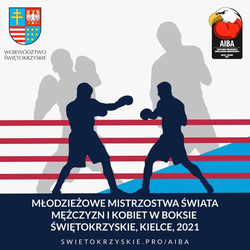 Baner młodzieżowych mistrzostw świata mężczyzn i kobiet w boksie świętokrzyskie 2021