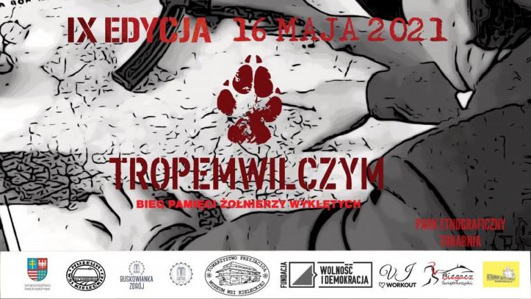 Grafika Promująca Wydarzenie Pod Nazwą Bieg Tropem Wilczym W Skansenie W Tokarni.