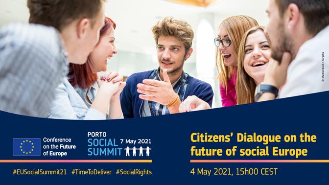 Grafika promująca konferencję na temat przyszłości Europy. Czwarty maja 2021 roku, godzina 15:00. #EUSocialSummit21 #TimeToDeliever #SocialRights