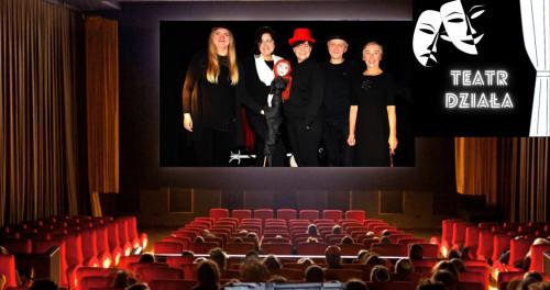 plakat zachęcający do udziału w projekcie edukacyjnym. widok widowni teatralnej i sceny, na której są uśmiechnięci aktorzy