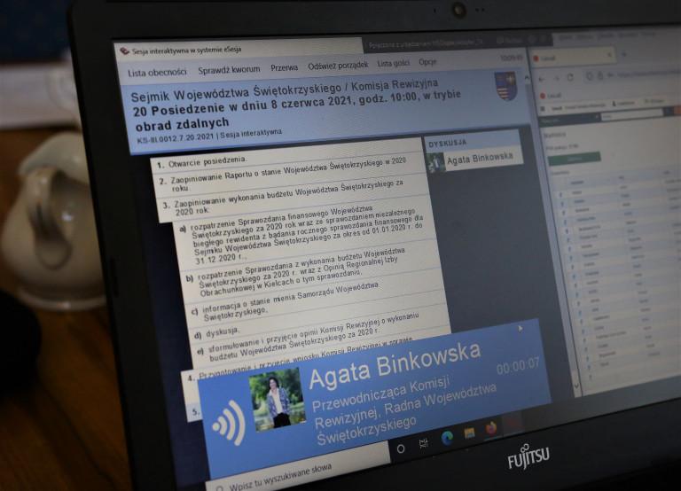 Ekran Komputera Na Którym Wyświetla Się Napis Komisja Rewizyjna Oraz Napis Agata Binkowska