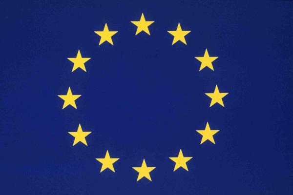 Na niebieskim tle, okrąg z żółtych gwiazd. Flaga Unii Europejskiej