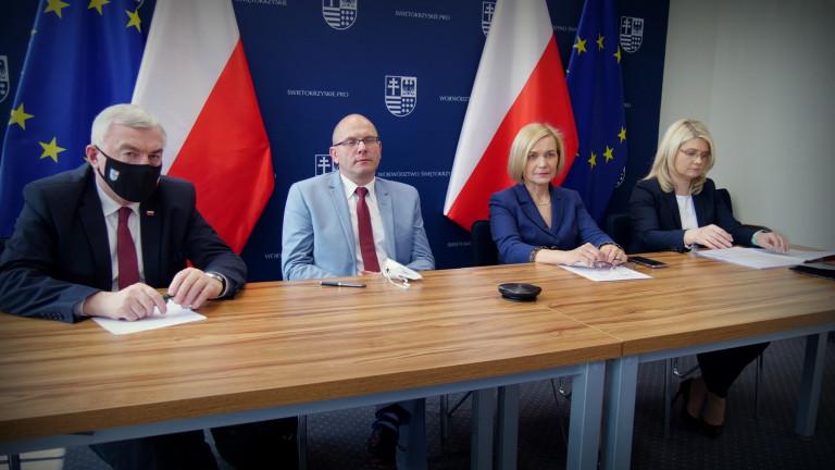 marszałek Andrzej Bętkowski, dyrektor Jacek Sułek, wicemarszałek Renata Janik, dyrektor Katarzyna Kubicka