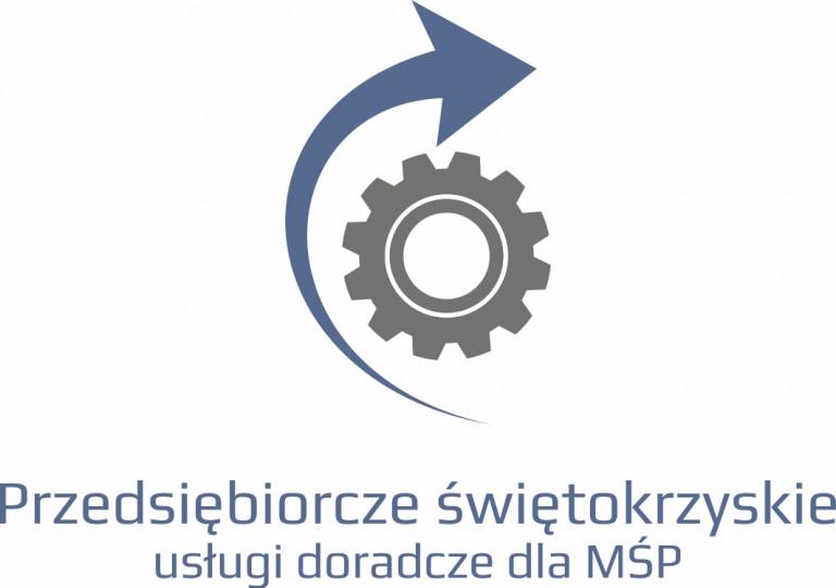 Szare koło zębate napędzane zgodnie z ruchem wskazówek zegara, w prawo, przez niebieską strzałkę. Logo projektu usług doradczych dla małych i średnich przedsiębiorstw