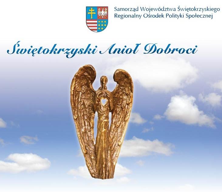 Na tle błękitnego nieba, lśni złota statuetka Świętokrzyskiego Anioła Dobroci, nagrody Zarządu Województwa Świętokrzyskiego