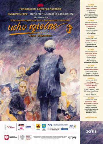 Ucho Igielne. Plakat trzeciego festiwalu muzyki klasycznej w Sandomierzu i okolicach