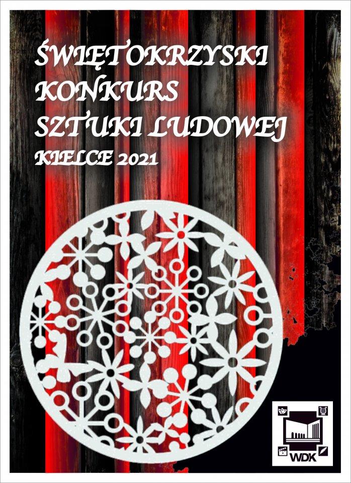 Plakat Konkursu Sztuki Ludowej Z Motywem Białej Wycinanki Na Czarno Czerwonym Tle