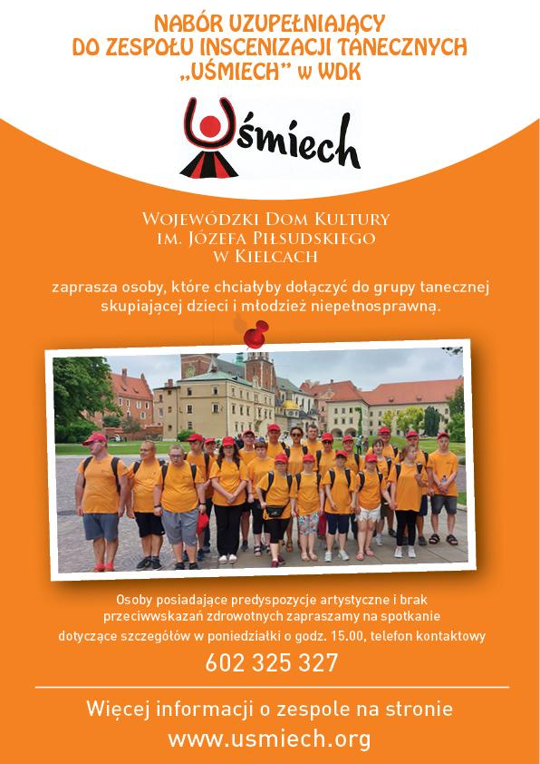 Plakat Zespołu Uśmiech Z Wykonawcami Na Pomarańczowej Okładce.